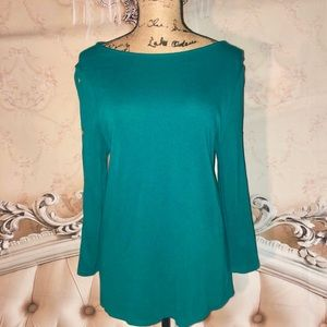 Chico's Sweaters - NWOT- Green Boat Neck Sweater Top